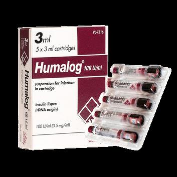 Insulin Humalog Cartridges 5 x 3 ml