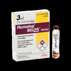 Insulin Humalog Mix 25 Cartridge 100 Units ml